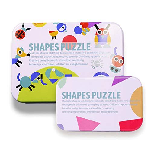 Egosy 2 Kisten Holzpuzzles Holz Lernspielzeug Spielcente Entwicklung Montessori Spielzeug Lernspielzeug Für Kinder Mädchen und Jungen - Pattern-blocks