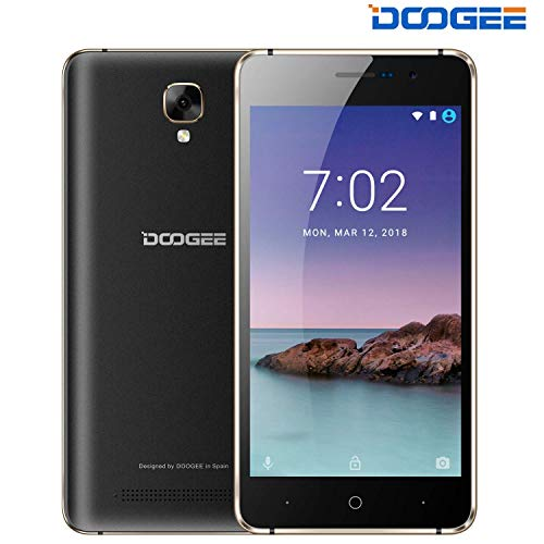 Günstige Handy, DOOGEE X10S 2019 Smartphone ohne Vertrag 3G Android 8.1 Mobile, 5,0-Zoll-Display, 1GB RAM + 8GB ROM, 3360mAh Akku, Kameras 5MP+2MP, Telefone entsperrt bei weniger als 60 Euros, Schwarz