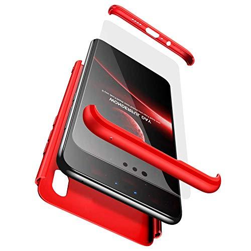 sigua Funda Compatible Xiaomi Mi A1, 3 in 1 Slim Fit Protectora Cover Caso Carcasa Choque Resistente 360 Grados Protección Ultra Slim Cubierta PC Hard Case + Cristal Templado,Rojo