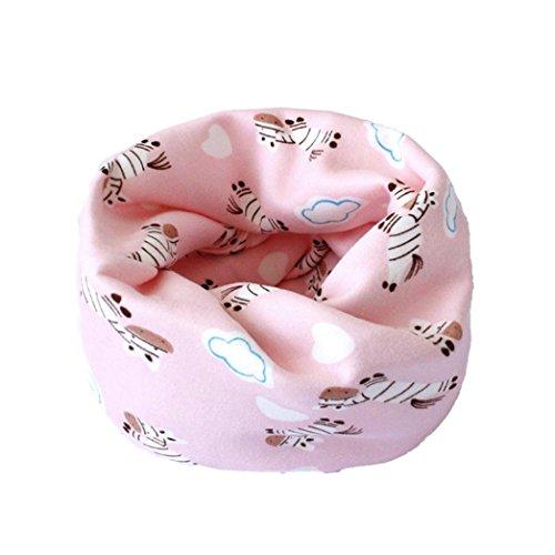 Hunpta Jungen Mädchen Winter warme Kragen Baby Schal Cartoon gedruckt Ring Halstücher 0 bis 4 Jahre alt (A) (Halstuch Set)