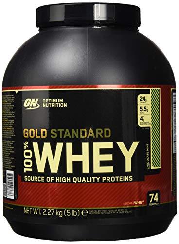 Optimum Nutrition Gold Standard Whey Eiweißpulver (mit Glutamin und Aminosäuren, Protein Shake von ON), Chocolate Mint, 74 Portionen, 2.27kg