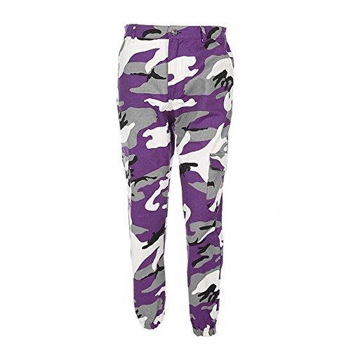 XNBZW Damen Sport Camouflage Hip Hop Cargo Outdoorhose Gürtel Laufhose Bunt Sporthose Seiten Taschen Reißverschluss Multi-Pocket Jogger Pants Trainingshose(Violett,L)