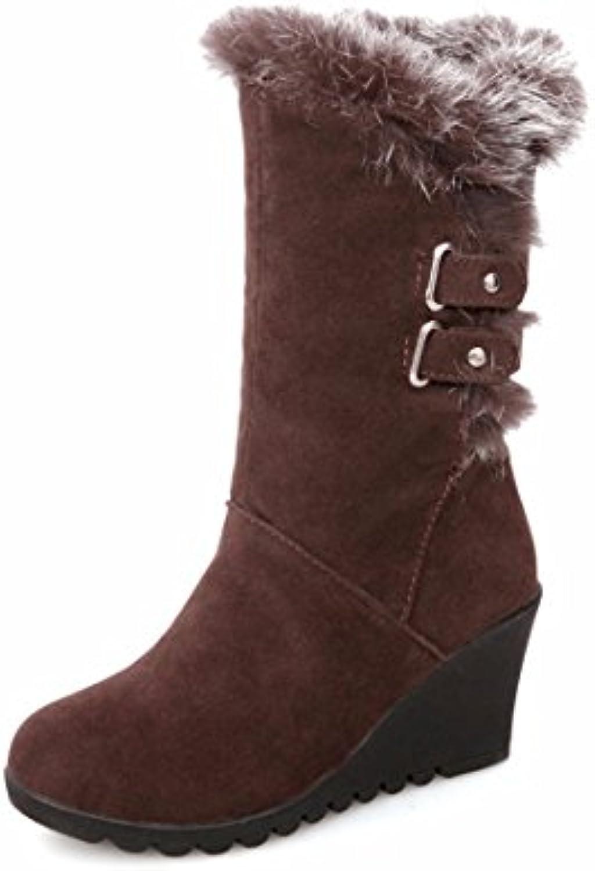 Wedge heel, cotton boots, medium boots, warm winter boots