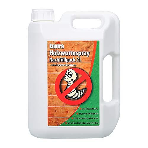 Envira Holzwurm-Spray - Holzwurm Ex Gegen Holzschädigende Insekten Mit Langzeitschutz - Auf Wasserbasis - 2 Liter
