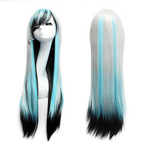 Perücke Damen 80cm Lange Haare Perucke Gerade Wig für Fasching Karneval Party Cosplay (Weiß Blau (Halloween Blaue Perücke)