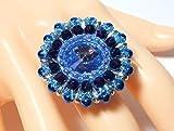 Blauer Ring Fingerring Damenring Cocktailring blau Glasperlenring handgefädelt verstellbar Blütenring Geschenk Geburtstagsgeschenk