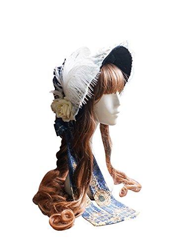 Esclusivo Vintage Designer Fashion Rococo pizzo tripla Passamanerie Stiff half-head Bonnet Dark Blue Taglia unica