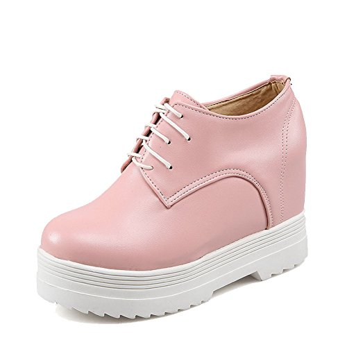 VogueZone009 Femme Couleur Unie Pu Cuir à Talon Haut Rond Lacet Chaussures Légeres Rose