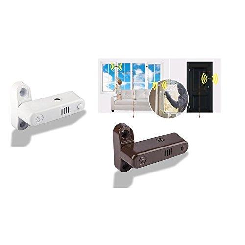 2 in 1 Alarm Fenstersicherungen Einbuchsicherung Fensteralarm für Fenster und Türen in braun