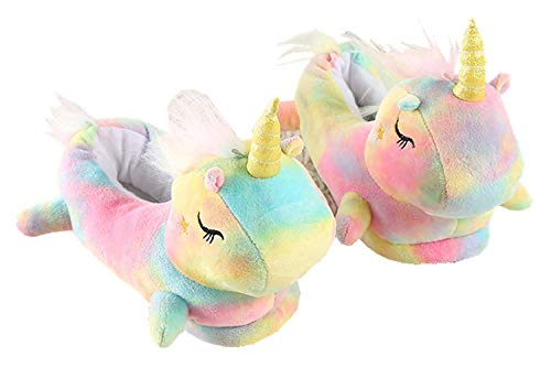Unisex Ladies Children Girls 3D Novelty Animal Rainbow Plush Unicorn Character Indoor Soft Slippers Slip-on Home Shoes Size UK 2-4