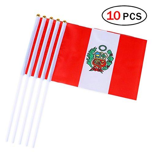 Newin Star Banderas Pequeñas,Banderas de Mano,Mini Bandera Nacional de Perú para Fútbol Partido 14 x 21CM (10 PCS