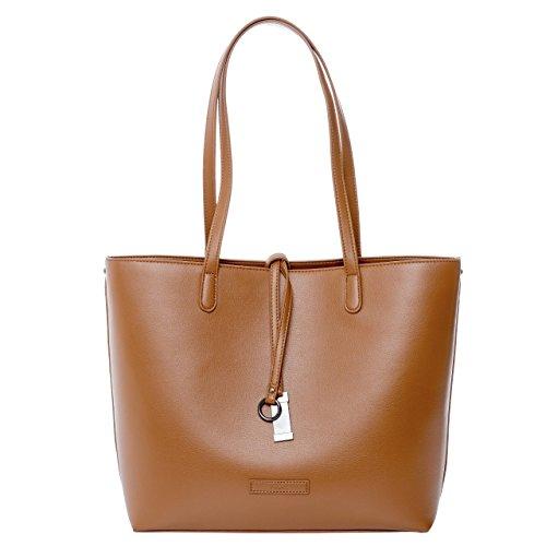 tragwert. Bolso de mano shopper bag LARA en marrón - Bolso de mujer bandolera bolso de hombro en cuero vegano