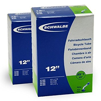 SCHWALBE AV1 (12x1.75 -2 1/4 Zoll) 2 Stück Fahrradschlauch mit Auto Ventil 45 Grad Winkel, für Kinderrad + 3 Stück Schwalbe Reifenheber -