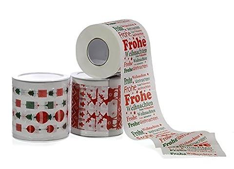 3 Rollen TOILETTENPAPIER - CHRISTMAS - sortiert, je 250 Blatt (Papier Tischdecken Weihnachten)