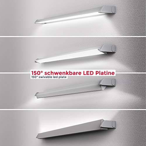 Lampada sottopensile cucina LED, Luca bianca neutra o calda, LED integrati  8W, Lunga 55.7 cm, luce orientabile, interruttore on off, plastica color ...