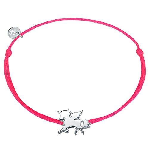 Glanzstücke München Damen-Textilarmband pink Einhorn Sterling Silber 15-22 cm - Armbändchen Freundschaftsarmbänder Stoffbändchen Armkettchen Textil