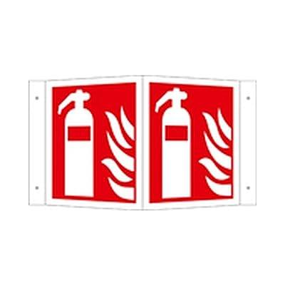 Schild Feuerlöscher Brandschutzzeichen auf Schilderträger Winkelform / nachleuchtend Größe (BxHxT): 53,0 x 30,0 x 21,0cm Alu