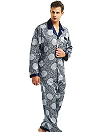 5cd4f7f771 LONXU Mens Silk Satin Pajamas Set Sleepwear Loungewear S~3XL Plus  Striped Gifts
