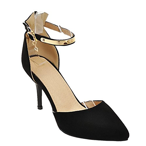 Mee Damen Strap Schwarz Ankle Pumps Schnalle Shoes Stiletto F8wF6