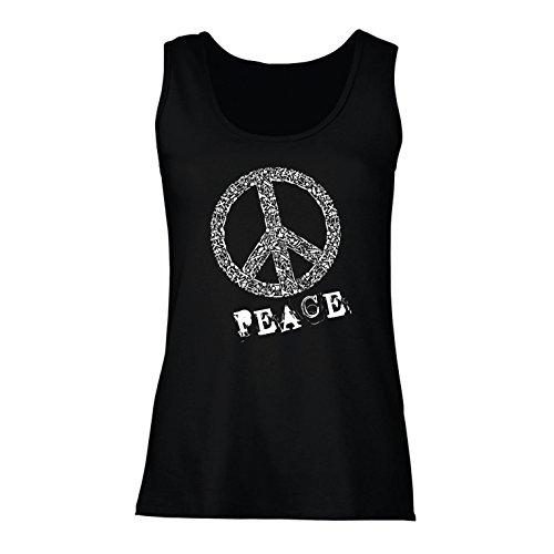 Freiheit Jagd-shirt (lepni.me Damen Tank-Top Peace Symbol 60er Jahre 70er Jahre Hippie-Festival, Zeichen der Freiheit (Medium Schwarz Mehrfarben))