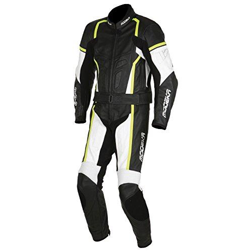 Modeka CHASER Damen 2-teiliger Leder Motorradkombi - schwarz weiss neon gelb Größe 34