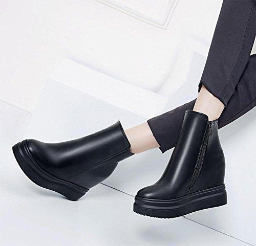 Scarpe casual aumento delle donne dal fondo pesante stivali piatti all'interno delle scarpe sportive con scarpe ascensore cerniera Ms. Autunno Black