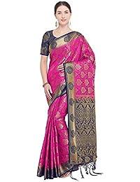 55efc7f669 Rajnandini Women s Silk Kanjivaram Zari Weaving Work Rich Pallu  Saree(NS2017C Magenta Free Size)