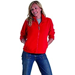 Celebrity Jewellery Anti-bouloches Full Zip Polaire chaude Veste de loisirs en plein air - Rouge - Large