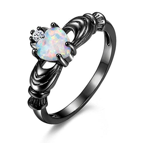 Frauen Opal Hochzeit Verlobungsring Claddagh Schmuck Soliatre Ringe Band Blak Gold (Echter Opal Ring Größe 7)