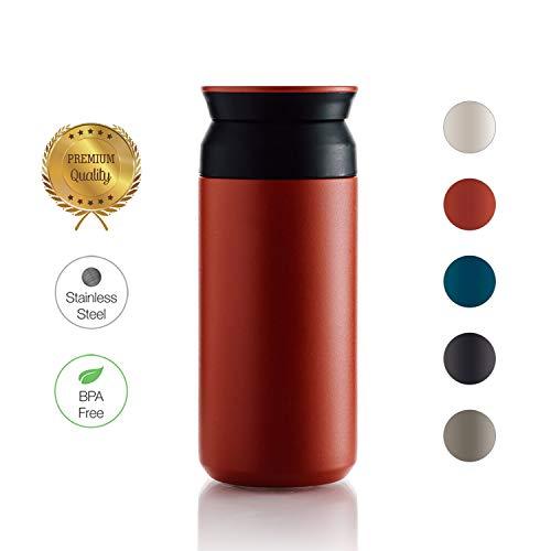 BOHORIA® Premium Edelstahl Kaffee-to-Go-Becher - Isolierbecher - Thermo-Becher - Doppelwandig & Vakuumisoliert - 360 ml - Reise-Becher Kaffee und Tee zum Mitnehmen - Autobecher Travel Mug (Rubin)