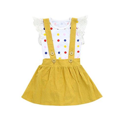 Set Mädchen Sommer, Kinder Outfits T-Shirt Print Tops Fly Sleeve Top Strap Rock Trägerkleid Kleid Stirnband Tutu ()