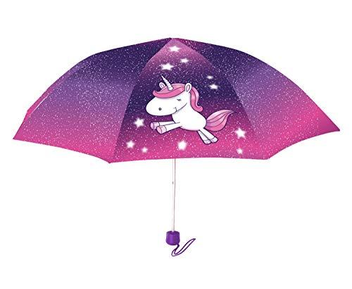 POS Handels GmbH Taschenschirm mit Einhorn Motiv, Regenschirm für Mädchen, manueller Öffnung, windfest Paraguas clásico, 24 cm, (Bunt)