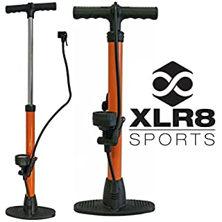 2 XLR8 Sports High Pressure Compact Floor Pumps - Orange / Bicycle Cycling Cycle Biking Bike Mountain Road MTB Reversible Presta Schrader French Smart Twin Head Inner Valve Tyre Tire Wheel Tube Track Racing Race Air Booster Lightweight Lite Hand Inflator Inflation Inflate Accessories Max Hi Power Gauge Alloy Barrel Plastic Base Pro Comp Peloton Drive Secure Hose Connection Fast Quick Action 120 PSI Universal /works on camping air beds, football & balls w needle adapter -buy spare part separately