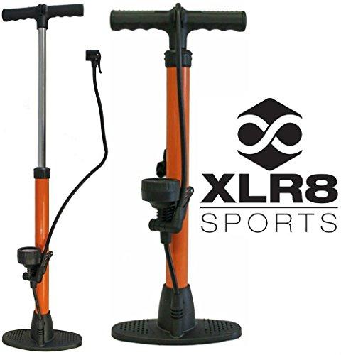 XLR8 Sports High Pressure Compact Floor Pump Orange Bicycle Cycling Cycle Bike