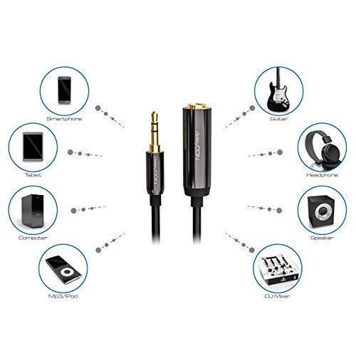 deleyCON 0,2m Stereo Audio Klinken Adapter Kabel - 3,5mm Klinken Stecker zu 6,3mm Klinken Buchse - Vergoldete Klinke Stecker und Buchse - Schwarz - 6