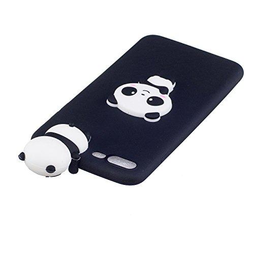 Cover iPhone 7 Silicone, LuckyW TPU Silicone Transparent Custodia per Apple iPhone 7 7S (4.7 pollici) 3D Protettivo Shell Clear Limpido Bumper Case Cover Ultra Sottile Ultra Slim Thin Flessibile Skin  Panda nera