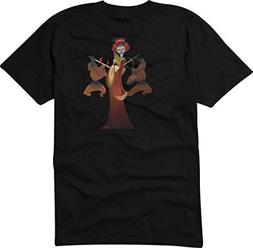 T-Shirt D1024 T-Shirt Herren schwarz mit farbigem Brustaufdruck - Kimono / Frau / japanische Mythologie Schwarz