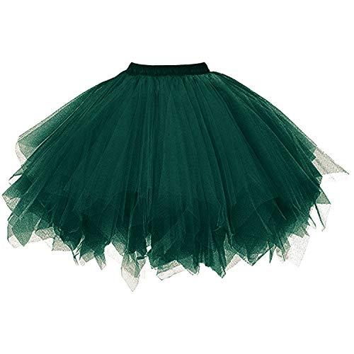 DresseverBrand Damen Petticoat 50er Rockabilly Jahre Retro Tutu Ballet Tüllrock Cosplay Crinoline Dunkelgrün (Grün Tutu Kleid)