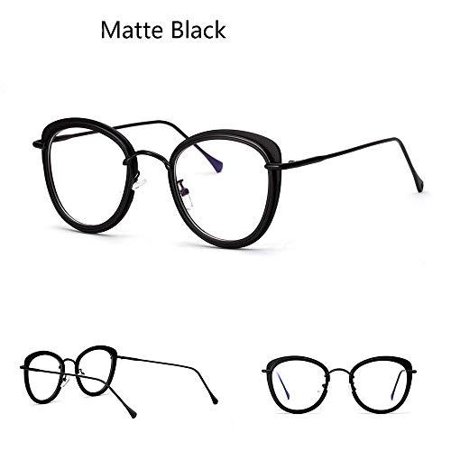 Polarisierte Sonnenbrille mit UV-Schutz Katze Ohren halbe Metall große Brillengestell Optiacl Brillen, klare Linse für Frauen. Superleichtes Rahmen-Fischen, das Golf fährt ( Farbe : Matte black )
