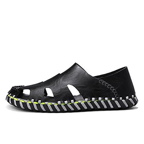 53e38fc69f2 Qingqing Mens Sport Sandales Cuir Pêcheur Sandales Fermé Toe Été Plage  Extérieure Chaussures Pantoufles d