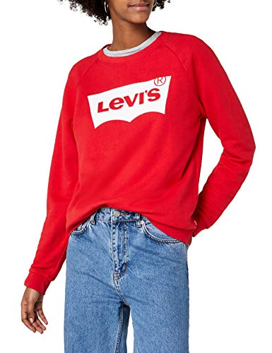 Levi's relaxed graphic crew, felpa donna, rosso (better fleece housemark chinese red 0019), medium
