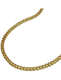 Collier chaîne gourmette double plaqué or différentes longueurs Largeur 1.6 mm
