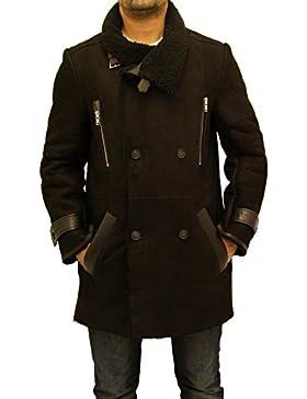Hombres Nuevo Negro Shearling de piel de oveja Doble Breasted gran cuello de abrigo caliente