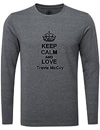 Keep Calm and Love Travie McCoy Luxury Slim Fit Long Sleeve Dark Grey T-Shirt