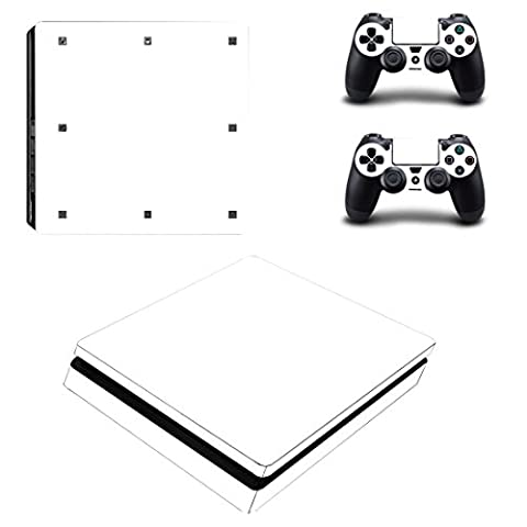 Morbuy PS4 Slim Skin Design Folie Aufkleber Sticker schützende Haut Schale für Sony Playstation 4 Slim Konsole und 2 Dualshock Controller (Only White)
