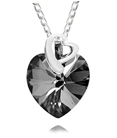 Royal Crystals Sterling Silver Made with Swarovski Crystals Black Grey Double Heart Pendant Necklace,18
