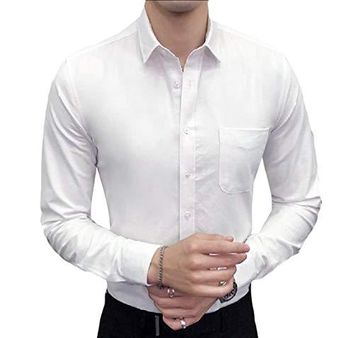 Oxford Woven Oxford-hemd (Andopa Herren spread kragen non-eisen festkörper: ausgestattet oxford woven hemd Medium (fits like US Small) Weiß)