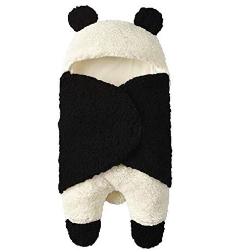 Neugeborenes Baby Winter wickeln Wickeldecke, Unisex tragbare Schlafsack erhalten Decke, Fleece Baumwolle Kinderwagen Krippe Schlafsack (0-3M, Black) (Baby Decke Trim)
