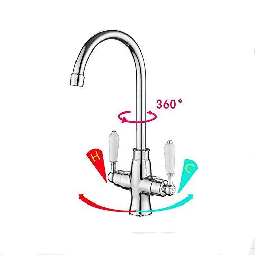 Preisvergleich Produktbild Keramik / Doppel-Open / Küche Heiß Und Kaltwasser Hahn 360 ° Schwenk Spülbecken Wasserhahn
