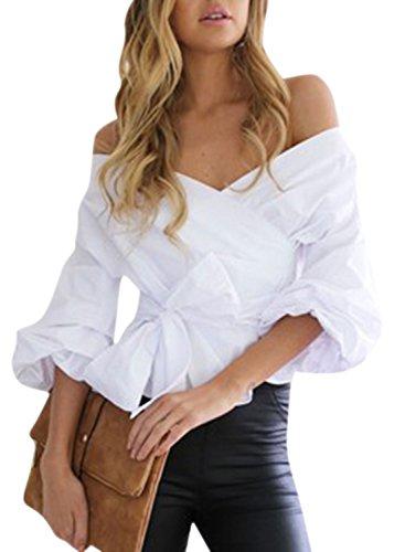 Nlife Frauen-Art- und Weisereizvolle weg vom Schulter-V Ansatz-Laterne-Hülsen-Verpackungs-Hemd-Blusen-Oberseiten Weiss M (V-neck Sleeve Puff Top)